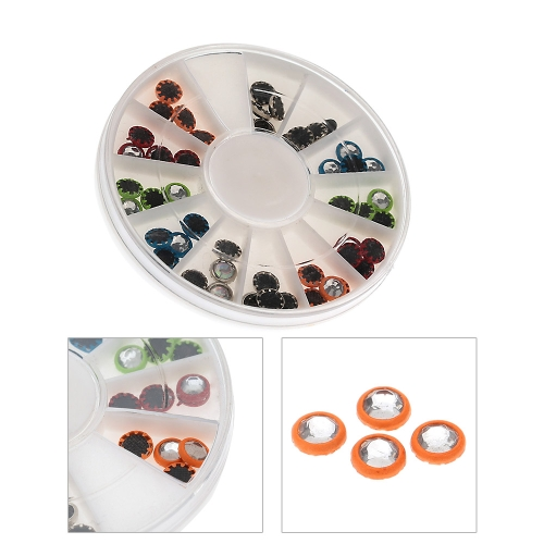 1Set 3D Nail Art Tips Mixed Colors Coated Round Shape Studs Glitter Rhinestone DIY Decoration Round Wheel