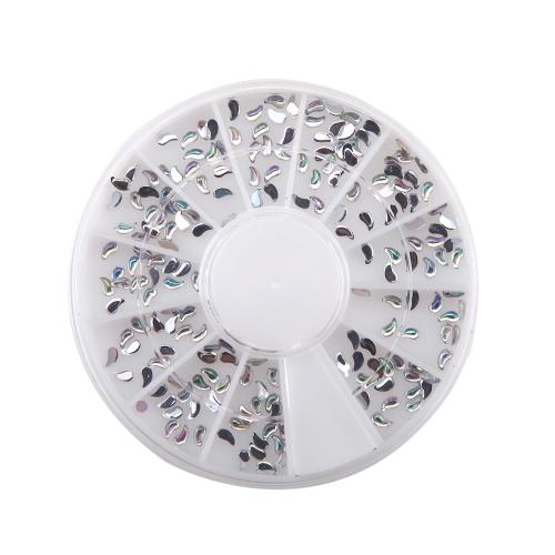 1Set Nail Tips 3D Glitters Rhinestones Acrylic Comma Shape Nail Tools Nail Art Decorations Round Wheel