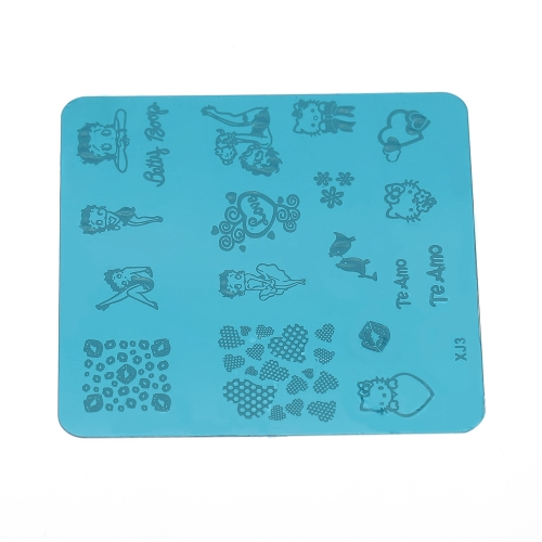 10Pcs Nail Art Stamping Image Lovely Animals Brands Drawings Decorative Print Patterns
