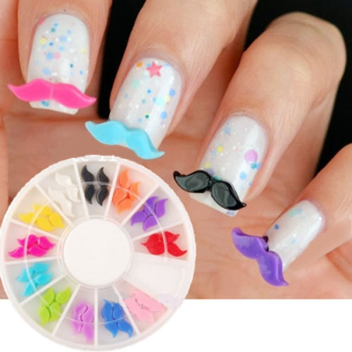 24Pcs DIY 3D Colors Resin Beard Nail Art Decoration Round Wheel