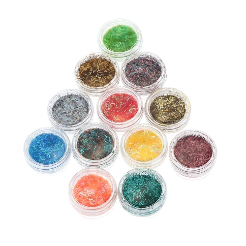 12 Color Shimming Filiform Nail Art Aesthetic Pattern Powder Tip Lady Makeup Kit