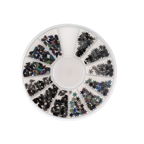 2 Styles 2 Colors Nail Tips 3D Glitters Rhinestones Acrylic Nail Art Decorations Round Wheel