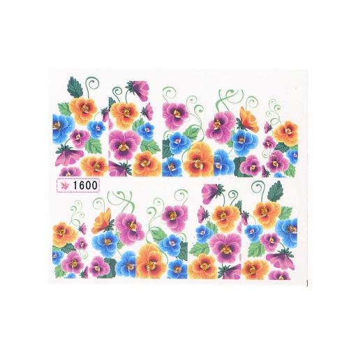 Воды передачи печати красоты цветы дизайн стильный ногтей наклейки Декаль наклейки на ногти