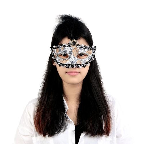 Fabelhafte schwarze Feder glänzend Diamond Night Club Bar Pub Sexy Halbmaske Masquerade