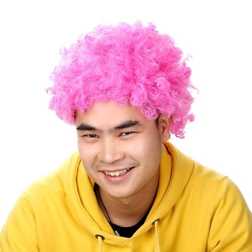 Афро парик розовое платье фантазии мужчины кудрявые дамы клоун волос диско футбол сторонником
