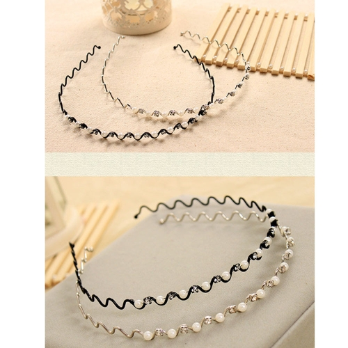 Lady Girl Bridal Wedding Headband Pearl Rhinestone Wavy Wire Hair Clasp