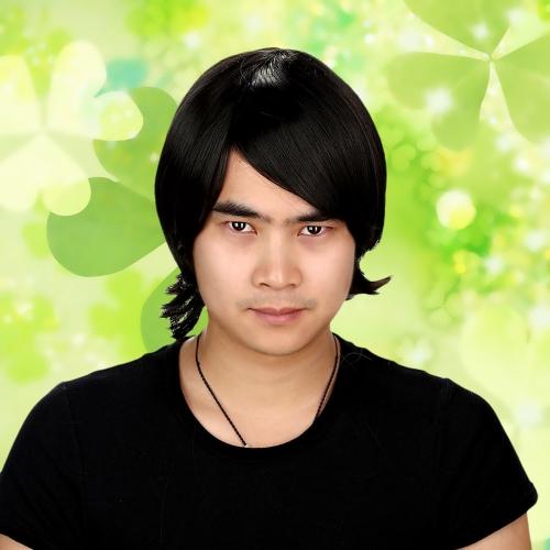 Personagem de Anime reta preta Cosplay homem festa peruca testa Fringe