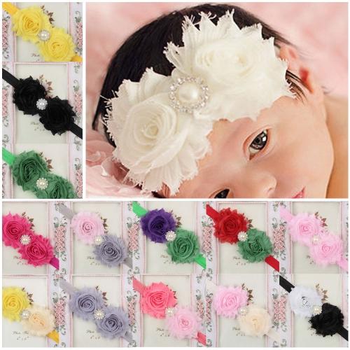28Pcs Twin colorida linda flor bebê menina cabelo banda pérola strass Headwear difusa fronteira