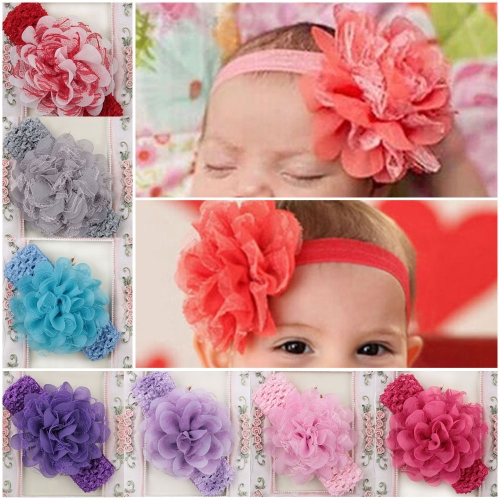 15Pcs Lovely Colorful Flower Baby Girl Hair Band Knit Ribbon Headwear Lace Petal