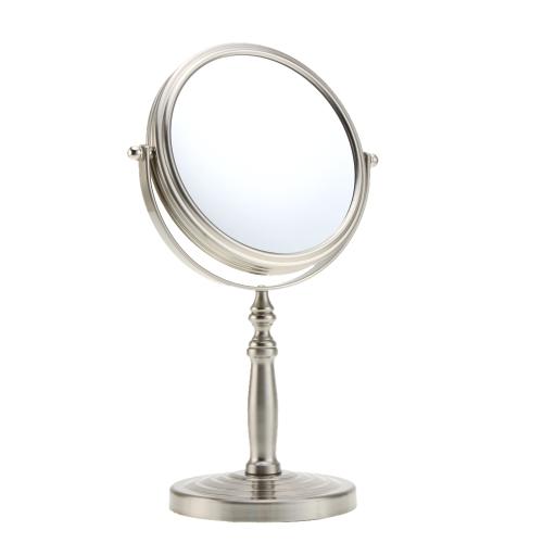 Aumento de 10 x 6 pulgadas ronda forma doble cara doble rotación de maquillaje cosméticos escritorio soporte espejo con Base Multicycle para mujeres chicas Dama