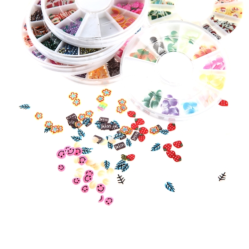 12Pcs/pack 12 Colors 3D Mixed Clay Fruit Flower Animal Cute Designs Nail Art Tips Wheel Decorations