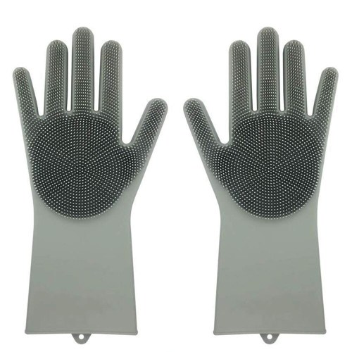 1 Pair Dish Washing Gloves Silicone Eco-Friendly Scrubber