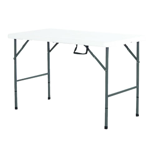 Interouge Rectangular Folding Table 122cm Foldable Tabletop Anti-oxidized, and Anti-UV Humidity Resistant for your Garden Picnic Camping Travel Reception or Caterer White