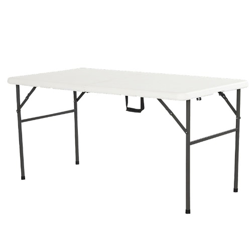 Interouge прямоугольный Складной столик 152см Складная Столешница Anti-окисляется, и Anti-UV влагоустойчивый для приема Сад для пикника Отдых на природе Путешествия или провизии White