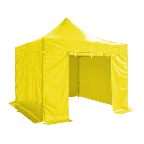 Folding Tent PRO Series 50mm Aluminium Structure + 4 Sides PVC 520g/m² Tarpaulin 3x3m for Professional Needs or Daily Use Yellow