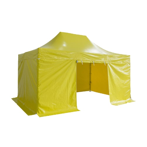 Folding Tent PRO Series 50mm Aluminium Structure + 4 Sides PVC 520g/m² Tarpaulin 3x4.5m for Professional Needs or Daily Use Yellow