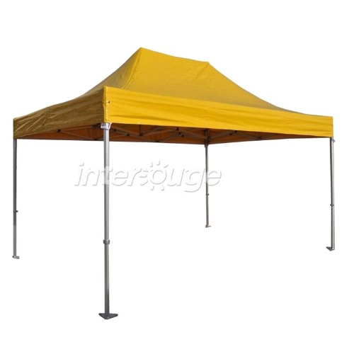 Folding Tent PRO Series 50mm Aluminium Structure in PVC 520g/m² Tarpaulin 3x4.5m  for Professional Needs or Daily Use Yellow