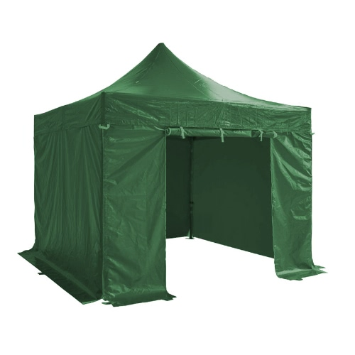 Folding Tent PRO Series 50mm Aluminium Structure + 4 Sides PVC 520g/m² Tarpaulin 3x3m for Professional Needs or Daily Use Green