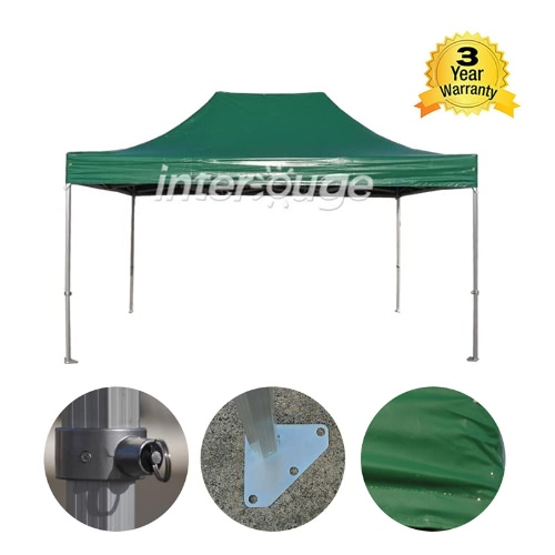 folding tent pro series 50mm aluminium structure in pvc 520g/m² tarpaulin 3x4.5m for professional needs or daily use green