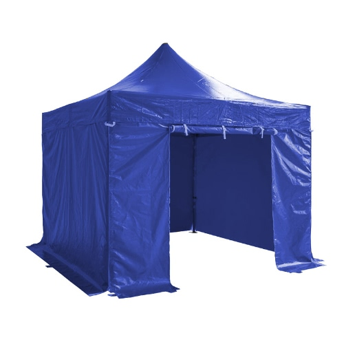 Folding Tent PRO Series 50mm Aluminium Structure + 4 Sides PVC 520g/m² Tarpaulin 3x3m for Professional Needs or Daily Use Blue
