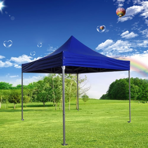 Folding Tent PLITECH STRONG Folding Marquee Gazebo 50mm Aluminium Structure Waterproof Tarpaulin in PVC 520g/m² 3x3m for Professional and Individual Needs for Regular or Intensive Use Blue