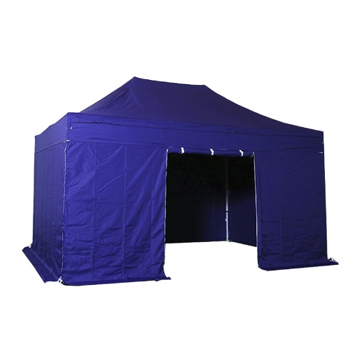 Folding Tent PLITECH QUALITY Folding Marquee Gazebo 40mm Aluminium Structure + 4 Sides Waterproof Tarpaulins in PVC Coated Polyester 300g/m² 3x4.5m for Professional and Individual Needs for Regular Use Indigo