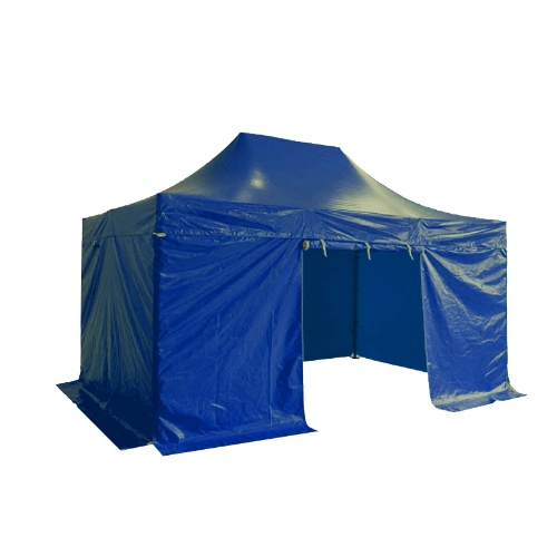 Folding Tent PRO Series 50mm Aluminium Structure + 4 Sides PVC 520g/m² Tarpaulin 3x4.5m for Professional Needs or Daily Use Blue
