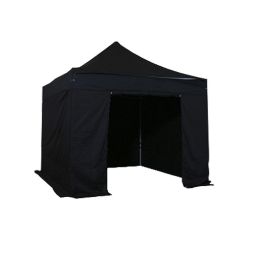 Folding Tent PLITECH QUALITY Folding Marquee Gazebo 40mm Aluminium Structure + 4 Sides Waterproof Tarpaulins in PVC Coated Polyester 300g/m² 3x3m for Professional and Individual Needs for Regular Use Black