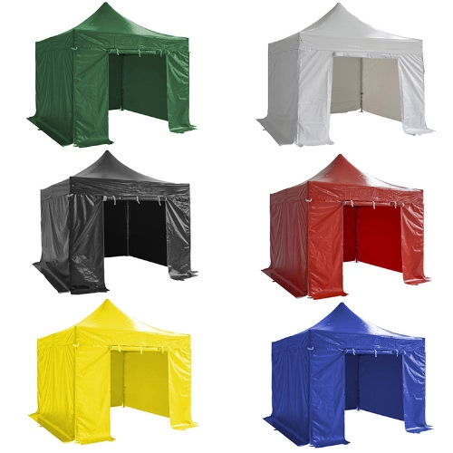folding tent pro series 50mm aluminium structure + 4 sides pvc 520g/m² tarpaulin 3x3m for professional needs or daily use black