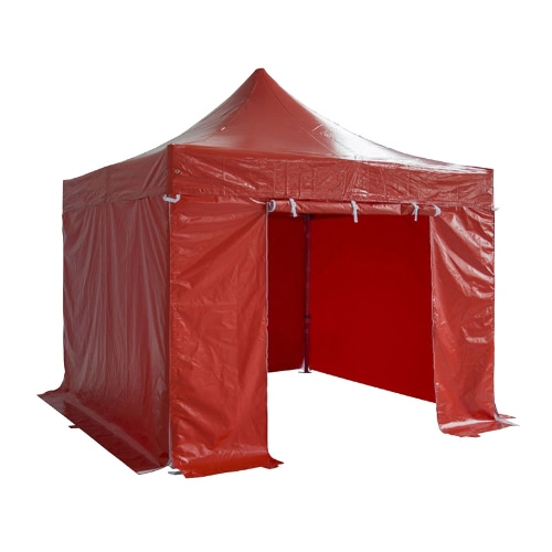 Folding Tent PRO Series 50mm Aluminium Structure + 4 Sides PVC 520g/m² Tarpaulin 3x3m for Professional Needs or Daily Use Red