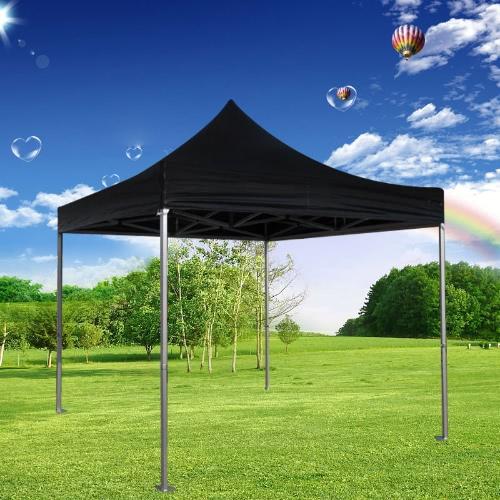 Faltzelt PLITECH STRONG Pavillon 50mm Aluminium Struktur Wasserdicht Plane in PVC  520g/m² 3x3m für professionelle und individuelle Bedürfnisse für regelmäßige oder intensive Nutzung Schwarz