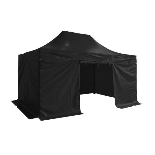 Folding Tent PRO Series 50mm Aluminium Structure + 4 Sides PVC 520g/m² Tarpaulin 3x4.5m for Professional Needs or Daily Use Black