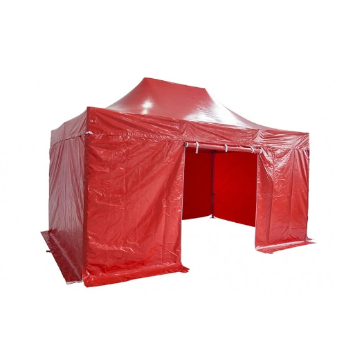 Folding Tent PRO Series 50mm Aluminium Structure + 4 Sides PVC 520g/m² Tarpaulin 3x4.5m for Professional Needs or Daily Use Red