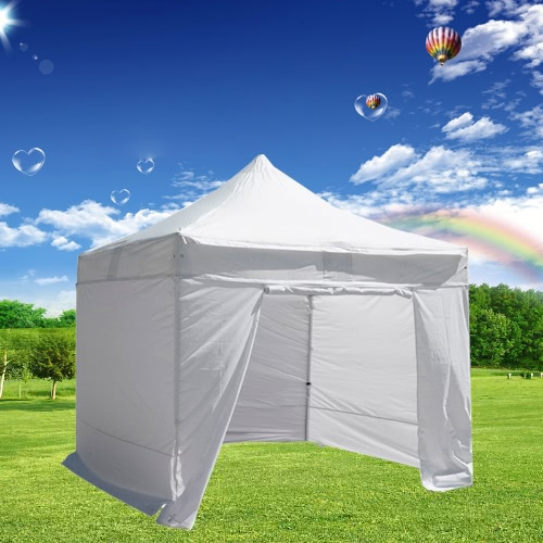 Folding Tent PLITECH QUALITY Folding Marquee Gazebo 40mm Aluminium Structure + 4 Sides Waterproof Tarpaulins in PVC Coated Polyester 300g/m² 3x3m for Professional and Individual Needs for Regular Use White