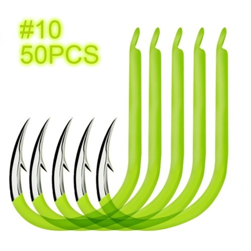 50pcs Fluorescent Fishing Hooks Carbon Steel Glow In Night Fishing Hooks