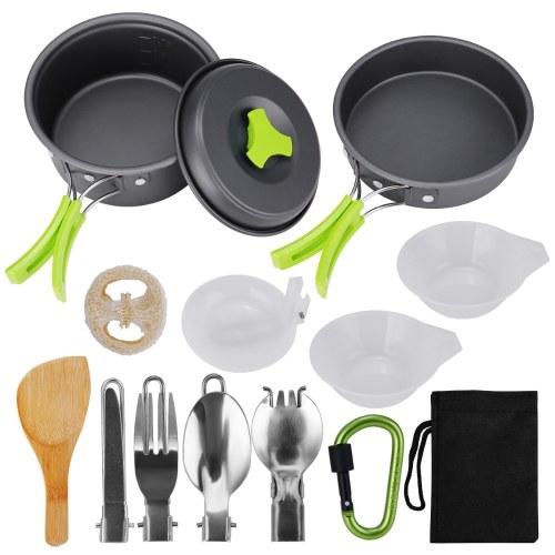 Посуда для кемпинга, 15 шт. Туристическое снаряжение, походы на открытом воздухе с антипригарным покрытием, набор посуды для кемпинга, 1-2 человека, легкие компактные прочные кастрюли и миски