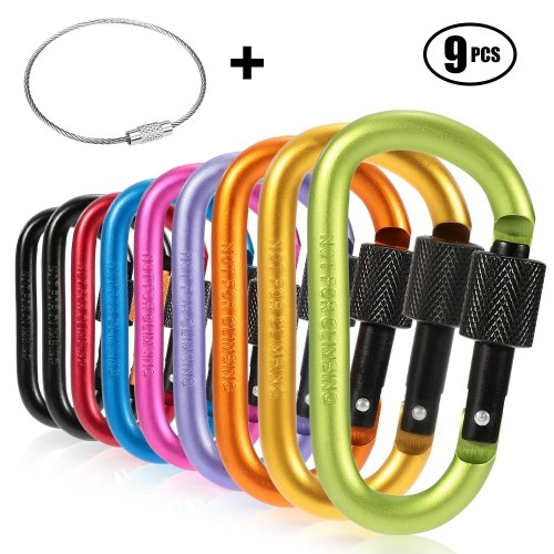 9 Pack Aluminum Alloy D-ring Locking Carabiner Clip Set Screw Lock Hanging Hook Buckle Keychain with Steel Wire Ring for Outdoor Camping Hiking