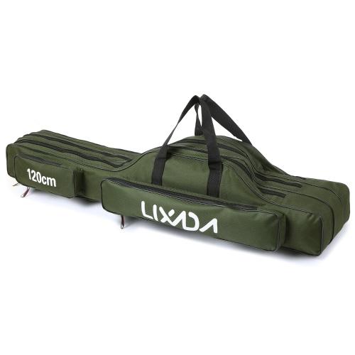 Lixada 3 Layers Fishing Pole Bag Portable Folding Rod Carry Case Fishing Reel Tackle Storage Bag Case
