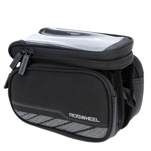 ROSWHEEL Fahrrad Frontrahmen Tasche Gepäcktasche Doppel f für 5,7 In Handy Touchscreen
