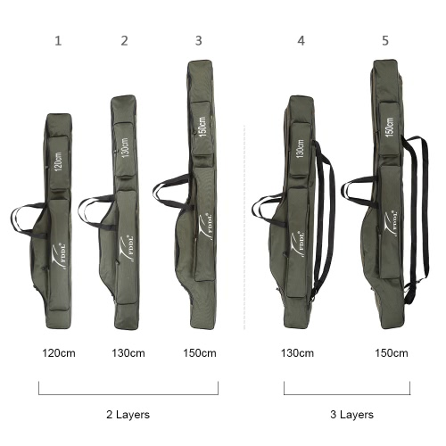 Portable Folding Fishing Rod Carrier Canvas Fishing Pole Tools Storage Bag Case Fishing Gear Tackle Y1895-2-150