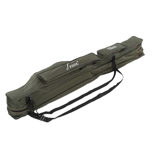 Portable folding fishing rod carrier canvas fishing pole for Fishing rod case carrier storage bag