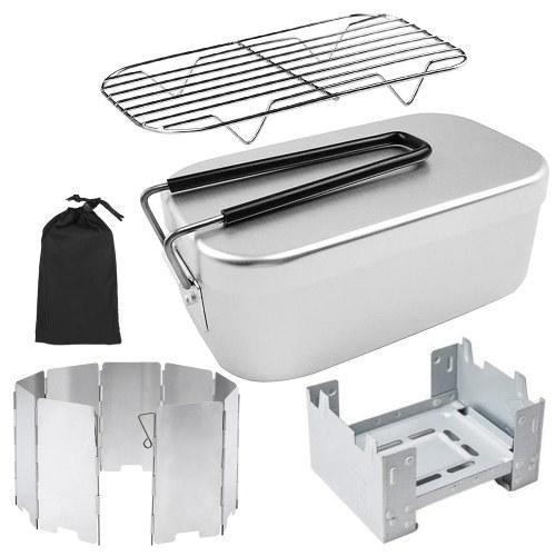 Mini Klappofen Lunch Box Klappbare Windschutzscheibe Dampfgarer Combo Set für Picknick Camping Wandern Angeln Bergsteigen