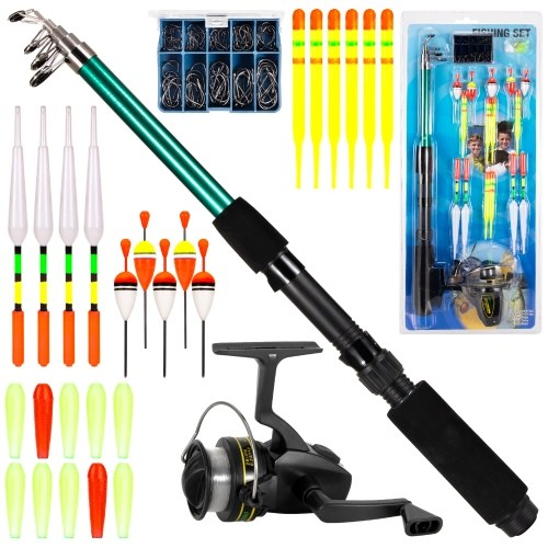 Fishing Rod and Reel Combo 127pcs Fishing Tackle Set Telescopic Fishing Rod Pole with Spinning Reel Floats Hooks Accessories Image