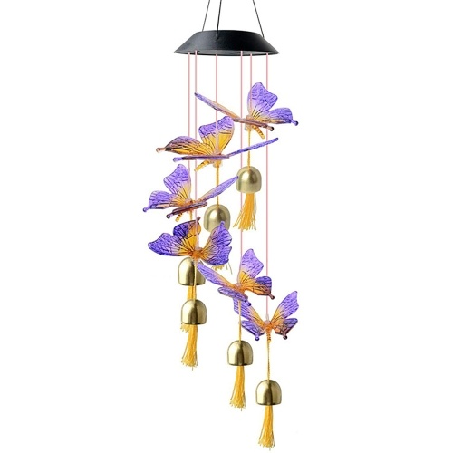 Solar Colored Butterfly Wind Chime Hanging Wind Chimes for Home Garden Courtyard Windows