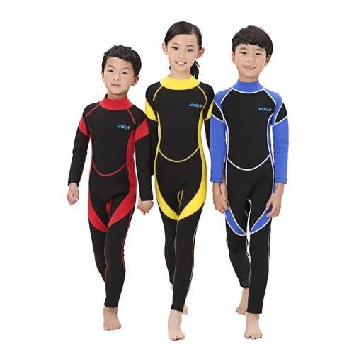Kids Wetsuit Girls Boys Zippered Long Sleeve Diving Swimsuit Quick Dry One Piece Chlidren Surf Suit for Water Sports
