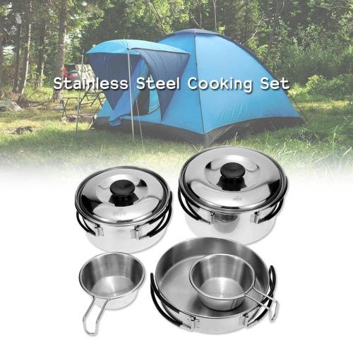 Acampar al aire libre senderismo mochila Picnic cocina recipiente olla sartén de utensilios de cocina conjunto de cocina acero inoxidable