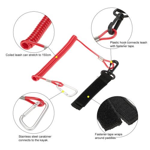 1pcs arrotolato Paddle Leash elastico Kayak canoa sicurezza Rod guinzaglio Kayak accessori tratti a 1,5 M