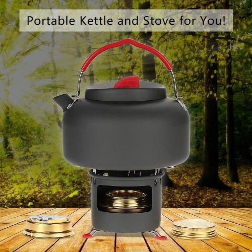Caldera Caldera Alocs ligero al aire libre de la tetera Cookware que acampa Agua Pot 1,4 litros de alcohol calentador estufa y portátil Soporte de apoyo