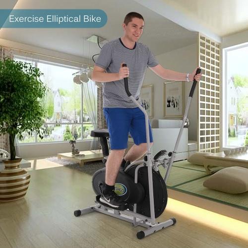 TOMSHOO 2 in 1 Heimtrainer Höhenverstellbarer Elliptische Maschine Crosstrainer Fan Bike Home Gym Workout Fitness-Maschine