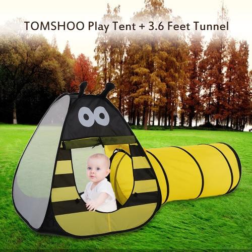 TOMSHOO Портативный Дети Дети Bee Play Палатка Открытый сад Складные игрушки палатка Pop Up младенца Открытый дом + 3,6 футов туннеля